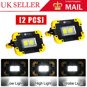 USB Rechargeable LED COB Work Light Outdoor Camping Floodlight Emergency Lamp x2
