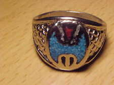 TURQUOISE  & RED CORAL   RING   SIZE 12