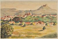 HR, Ausblick vom Main auf die Silhouette d. Stadt Würzburg, um 1950, Aquarell