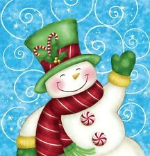 Wintertime Greetings Christmas Plastic Tablecover 54 x 102 Snowman