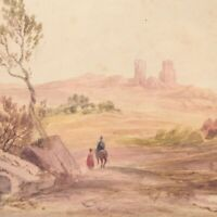 Antique painting landscape watercolour English School figure horse 19th century