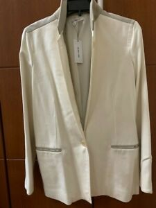 New with Tag Helmut Lang Ivory Grey Leather Blazer Size 6