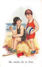 POSTCARD   CHILDREN   GERMAN   Playing in the  sand.....   Arthur   Butcher