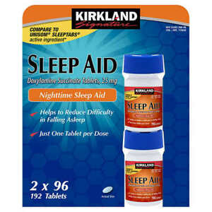 Kirkland Signature Sleep Aid Doxylamine Succinate 25mg Fall Asleep Fast Tablets
