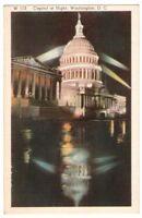 Unused Postcard Capitol at Night Washington DC District of Columbia