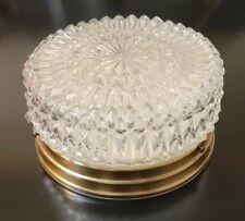 """Vth 50's Cut Glass Flush Mount Ceiling Light Brass Fixture Mid Century 9"""""""