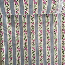 50x150cm Cotton Linen Fabric For Home Deco Rural Flower Stripe Blue 626j F