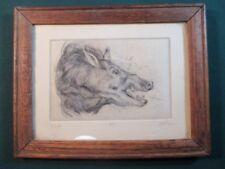 Rafael Salas Wild Boar Etching with Oak Frame Ripon College WI