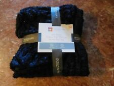 """Brand New Black/Brown Faux Fur Throw-Mink Backed-Silky Soft-50"""" X 60""""-Very Nice"""