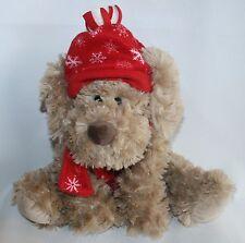 Fashion Bug Puppy Dog Stuffed Plush Red Snowflake  Hat Scarf Winter Christmas