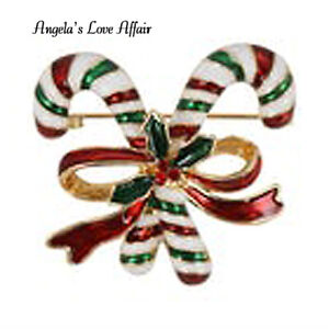 CHRISTMASY HOLLY BERRY ENAMEL RED CRYSTAL XMAS CHRISTMAS CANDY CANE BROOCH PIN