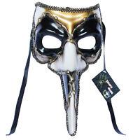 Black Venetian Long Nose Mask Masquerade Ball Prom Mardi Gras Halloween 11E2A