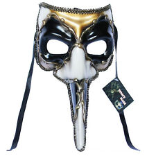 Black Venetian Long Nose Mask Masquerade Ball Prom Mardi Gras Halloween 11E2A