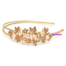 NEW Gold Color pearl/rhinestones Butterfly Metal wedding Headband head jewelry