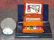 Dollhouse Miniature Wood Sewing Box Reutter Porcelain 1:12 inch scale F12