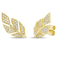14K Yellow Gold Diamond Leaf Stud Earrings Round Pave Pushback Natural 0.14 TCW