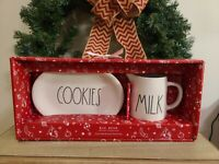 Rae Dunn COOKIES Plate with Milk Pitcher Christmas Ceramic New 2020 Santa