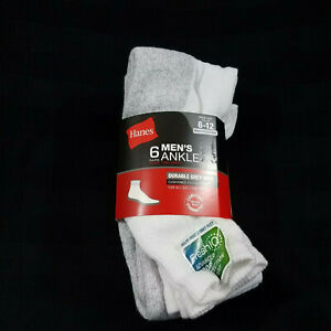 Hanes Mens 6 Pairs Ankle Socks Shoe Size 6-12 Durable Cushioning White Gray