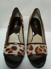 Michael Kors Women's Leather Cow Fur Peep Toe Wedge Shoes Sz 9 M Euc