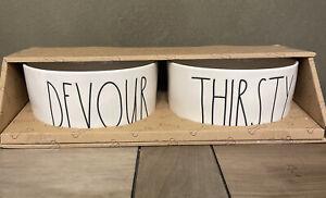 "Rae Dunn - DEVOUR THIRSTY - 6"" Diameter White Ceramic Dog Bowl Set of 2 Bowls"