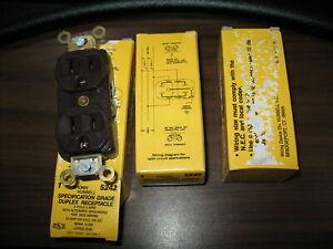 New Lot of 3 Hubbell 5242 Brown 15 Amp 125V Spec. Grade Duplex Receptacles