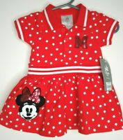 New Disney Baby Red Polka Dot Minnie Mouse Dress 0-3 Months Sequins & Bloomers