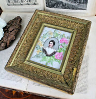 Painting oil on Porcelain Tile Plaque dated 1899 signed Lady framed