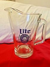 Vintage Miller Lite Heavy Glass Draft Beer Pitcher Advertising