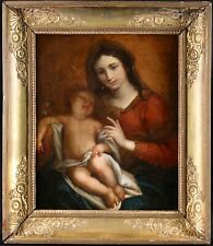 17th CENTURY FRENCH OLD MASTER OIL ON CANVAS - THE MADONNA AND CHILD