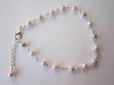Silver Plated Pink Costume Anklets