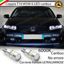 COPPIA LUCI DI POSIZIONE 6 LED T10 CANBUS 6000K HONDA ACCORD 7 BIANCO GHIACCIO
