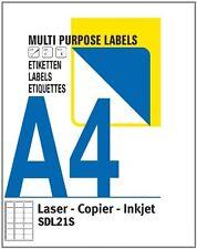 500 A4 Blätter 21 DRUCKER ETIKETTEN / Blatt klebrig Adress Laser Inkjet L7160