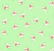 Lakehouse Pam Kitty Tiny Terriers White Mini Dogs on Green Polka Dot Fabric - FQ