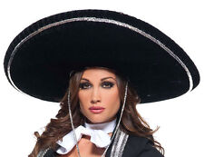 ADULT BLACK MARIACHI SOMBRERO HAT MEXICAN HISPANIC COSTUME HAT JUMBO BIG LARGE