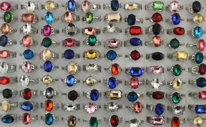 Wholesale Lots 60pcs Silver P Jewelry Mixed Lady's Fashion Glass Rings Free P