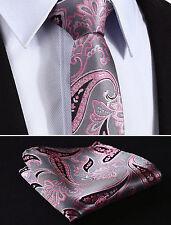 Mens Wedding Tie Sale - Grey Pink Pasiley  Necktie & Hanky Set Handkerchief
