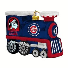 CHICAGO CUBS BLOWN GLASS TRAIN ORNAMENT WITH SANTA ON ONE SIDE, RUDOLPH ON OTHER