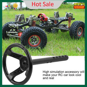 Universal Black Metal Steering Wheel RC Parts for 1/10 Scale RC Crawler Car F
