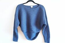 Wilfred Aritzia Bourassa Sweater Medium Italian Yarn Blue Ribbed Cropped
