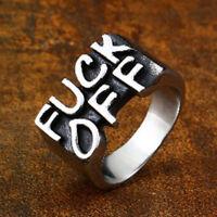 Men Women Stainless Steel Gothic Punk Biker Finger Rings Rock Letter Rings Gift