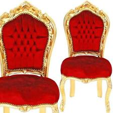 BAROCK HIGHLIGHT goldener ESSZIMMERSTUHL RED VELVET CHAIR EDEL STUHL BAROCKSTUHL