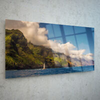 Glass Picture Wall Art Canvas Digital Print ANY SIZE Nature Boat Coast p27534