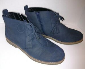 Comfortview Brooke 9.5 M Women Vegan  Blue Suede Leather Lace-Up Zippered Boot