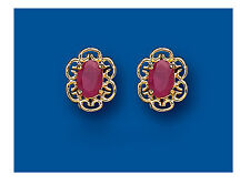 Ruby Studs Natural Ruby Earrings Yellow Gold Ruby Earrings