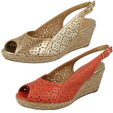 Ladies Van Dal Peep Toe Sling Back Buckled Leather Wedge Sandals Katherine