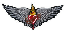 Patch Heart with Wings 29x12cm Scared Heart Patch Wings Back Jacket Waistcoat