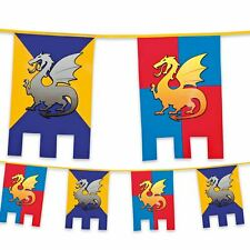 6m Plastic Bunting Knights & Dragons Medieval Banner Garland Party