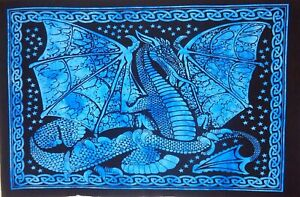 Blue Animal Art Hippie Dragon Fly Printed Wall Hanging Tapestry Poster Throw New