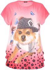 Maglie e camicie da donna maniche a pipistrello rosa con girocollo