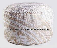 Gold Ombre Mandala Ottoman Cover Cotton Large Floor Pillow Cover Indian Handmade